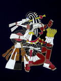 Abstract Aztec god. Abstract artwork of an ancient Aztec god. Black background royalty free stock photos