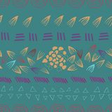 Abstract aztec green  seamless print design background stock illustration