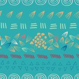 Abstract aztec teal seamless print design background royalty free illustration