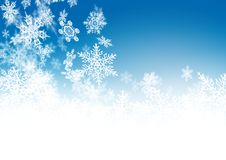 Abstract Azure Blue - Winter Background with Beautiful Snowflakes royalty free illustration
