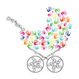 Abstract baby carriage from hands. Vector illustration Stock Photo