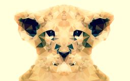 Abstract Baby lion low poly bokeh wallpaper Royalty Free Stock Image