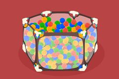 Abstract baby playpen with a child inside royalty free illustration