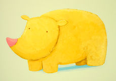 Abstract baby rhino. Abstract yellow comic baby rhino Stock Illustration
