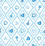 Abstract baby seamless background. Seamless diamond pattern with hearts and toys Royalty Free Stock Photo