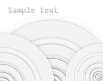 Abstract bacground with sample text. Several circles arranged at the corners of an asymmetrical manner. The circles are different sizes of the same color and Stock Photo