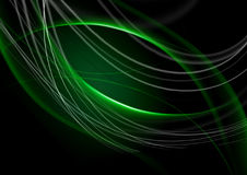 Abstract back lit green background with curving green strips. Abstract back lit green background with intersecting curving green strips stock illustration