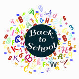 Abstract back to school background with colorful rainbow letters dor card and banner Royalty Free Stock Photos