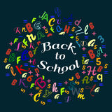 Abstract back to school background with colorful rainbow letters dor card and banner Stock Image