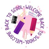 Abstract back to school background with short small pencil and stationery supplies. Welcome Back to school quote. Abstract back to school background with red royalty free illustration