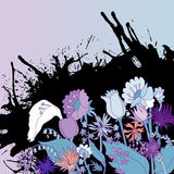 Abstract backdrop design. With field flowers and blots and place for your text Stock Photos