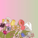 Abstract backdrop design. With field flowers and place for your text Royalty Free Stock Photo
