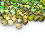Abstract backdrop in green and yellow. Abstract 3d shape backdrop in green yellow on white Stock Images