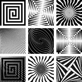 Abstract backdrops set. Rotation, spiral and radial motion illusion. Vector art Royalty Free Stock Image