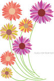 Abstract backgroun with color flower silhoues Royalty Free Stock Image