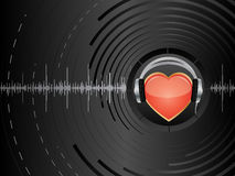 Abstract background. Vector abstract background with heart and earphones Royalty Free Stock Photography