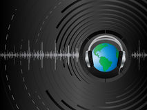 Abstract background. Vector abstract background with the earth and headphones Stock Photo