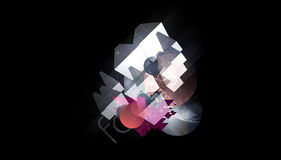 Abstract background. Abstract composition design on black background and forms and lines stock image
