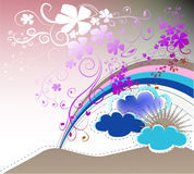 Abstract background. With rainbow, clouds and flowers Stock Photography