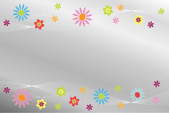 Abstract background. Silver background with colorful flowers Stock Photo