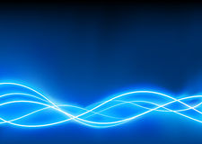 Abstract  background. A vector illustrated   futuristic background resembling blue motion blurred neon light curves Stock Photo