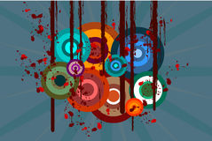 Abstract background. Illustrated grunge style background with circles Stock Photo