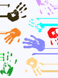 Abstract background. Illustration of abstract colorful hand prints Royalty Free Stock Photo