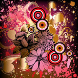Abstract background. With flowers and circles Stock Illustration