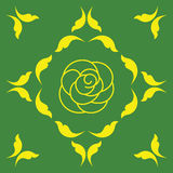 Abstract background. Rose on a green background inside of yellow figures Royalty Free Stock Photos