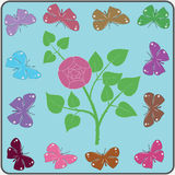 Abstract background. Rose and butterflies on a blue background vector illustration