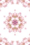 Abstract background. Kaleidoscope of flowers on a white background stock illustration
