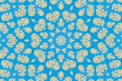 Abstract background. Kaleidoscope of flowers on a blue background stock illustration
