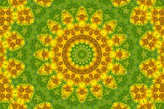 Abstract background. Kaleidoscope of flowers on a green background royalty free illustration