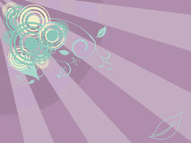 Abstract background. Violet party background with rays, circles and floral ornaments stock illustration
