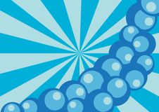Abstract Background. Blue Abstract Retro Background With Rays And Bubbles vector illustration