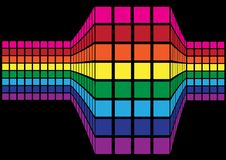 Abstract Background. Cubes in Colors of Rainbow on Black Background / Vector royalty free illustration