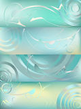 Abstract background. Set of 4 abstract headers with waves, swirls, lines, gradients Stock Photos