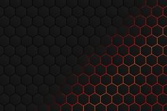 Hexagonal shape, black gray pattern with red light background as an abstract background stock illustration