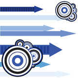 Abstract background. Illustration with arrows and circles in different shades of blue royalty free illustration
