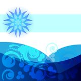 Abstract background. Abstract waves and flower in blue Stock Image