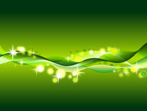Abstract background. Illustration of green abstract background with waves, circles and stars Stock Photography