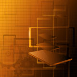 Abstract background. Abstract technology background 3d sepia vector illustration Stock Photos