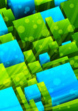 Abstract background. With green and blue cubes royalty free illustration