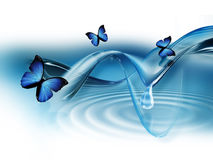 Abstract background. Elegant blue abstract background with butterflies royalty free illustration