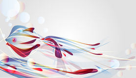 Abstract  background. Beautiful abstract  background with fish and bright multicolor lines Royalty Free Stock Photography