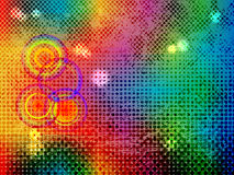 Abstract background. From color stains and halftones with circles stock illustration