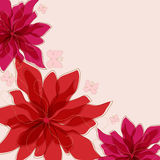 Abstract background. Abstract red flowers with butterfly Stock Image