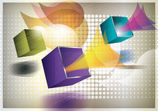 Abstract background. Colorful background with flying cubes stock illustration