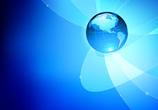 Abstract background. Vector illustration of abstract blue Background with Glossy Earth Globe Stock Photo