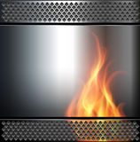 Abstract background. Metallic with vector fire flame Stock Photos